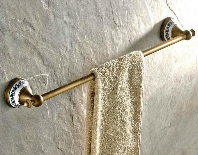 Barras de toalha de Bronze Antigo Prateleira Do Banheiro Suporte de Toalha de Acessórios Do Banheiro de Toalha Rack de Parede Cabide de Toalha Único Trilho zba402
