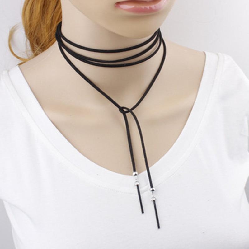 Nueva joyería de moda negro terciopelo cuero arco gargantilla DIY collar regalo...