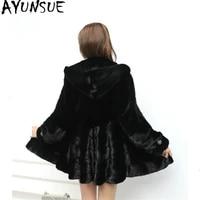 ayunsue luxury natural mink fur coat female jacket 2020 winter jacket women hooded long fur coats and jackets women outwear 4xl