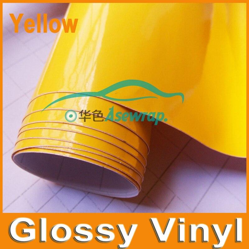 1.52x30m/Roll High Glossy Black Vinyl Wrap Car Wrap with Air Bubble Shiny yellow Vinyl Ultra Gloss Wrap Film car sticker  wrap