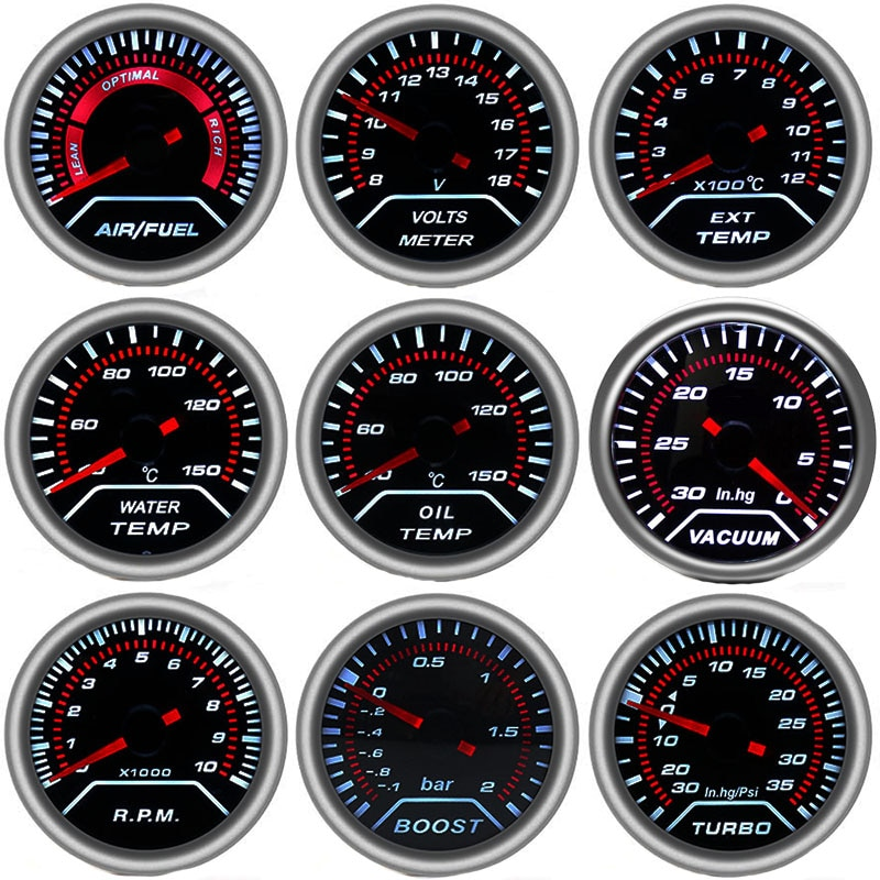 Tacómetro de 52mm, barra de medición de impulso de coche PSI, medidor de Gas de escape, temperatura de agua, presión de aceite, presión de aire, medidor de combustible, medidor de voltímetro