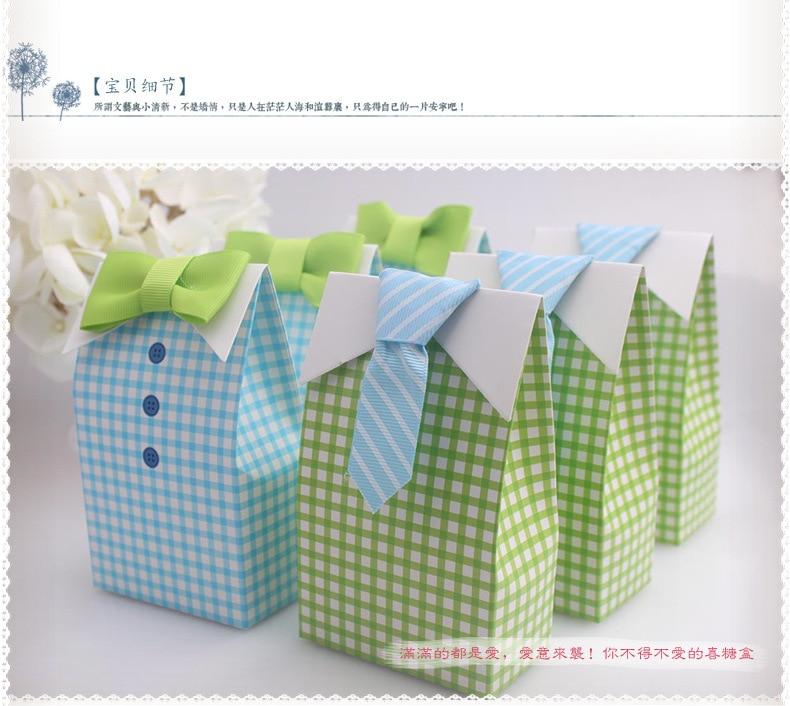 1000 Uds mi pequeño hombre azul arco verde corbata cumpleaños niño Baby Shower Favor bolsa de regalo para dulces caja de dulces detalle para boda bolsas de regalo