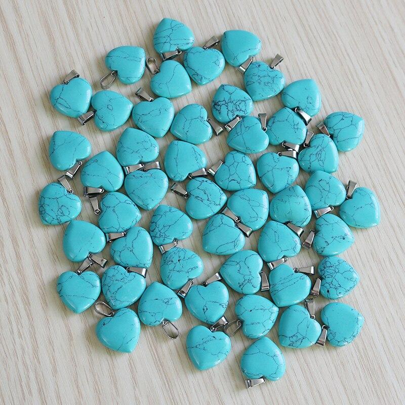 Juegos de joyería de turquesas Fubaoying, joyería Bohemia, pendiente de joyería, 30 Uds colgantes del collar del corazón colgantes para joyería, fabricación de mujeres
