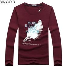 BINYUXD Cotton Men T-Shirt Feather Printed O-neck Men T-Shirts Long Sleeve Spring Casual Brand Clothing Tops Tees Men Plus Size