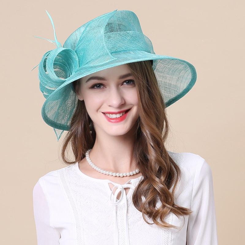 Women's Fedoras Hats Girls Line Church Cap Female British Party Hat Royal Wedding Linen Caps Wide Brim Kentucky Derby Hat B-8657