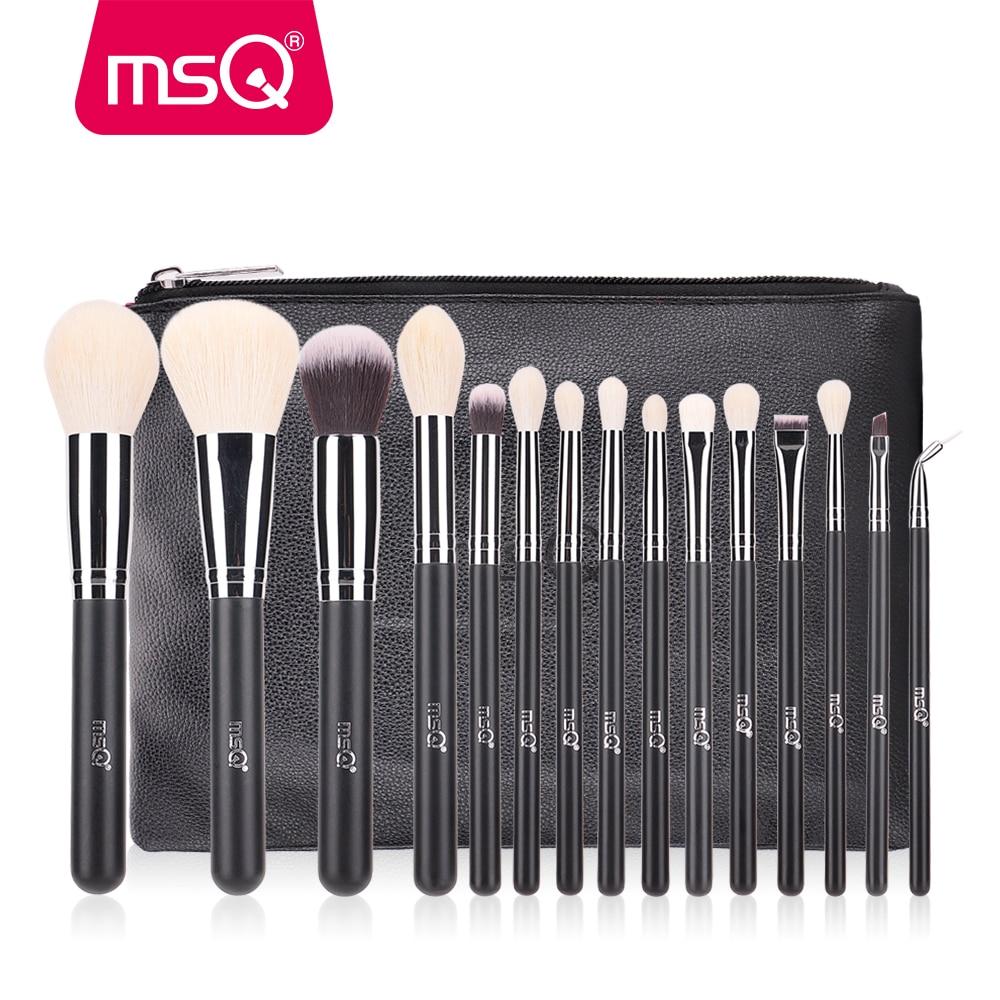 MSQ Makeup Brushes Set 15pcs Foundation Powder Eyeshadow Make Up Brush Cosmetic Tool High Quality Goat Hair PU Leather Case