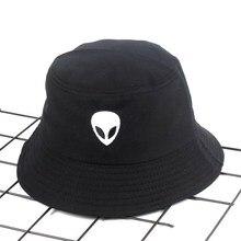 Chapeau brodé à motif Alien 2019 coton   Seau, chapeau de pêcheur, chapeau de voyage en plein air, casquette de soleil repliable, chapeaux pour hommes et femmes 542