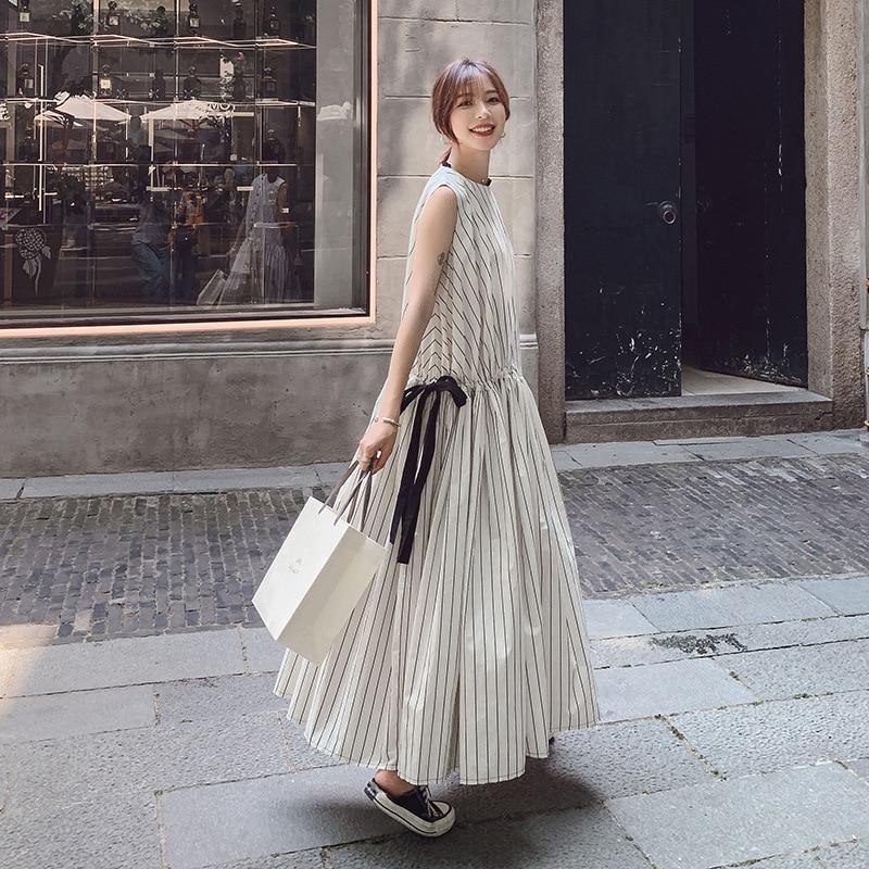 Net new summer dress Korean version of round neck red long section of temperament stripe sleeveless dress women's fashion