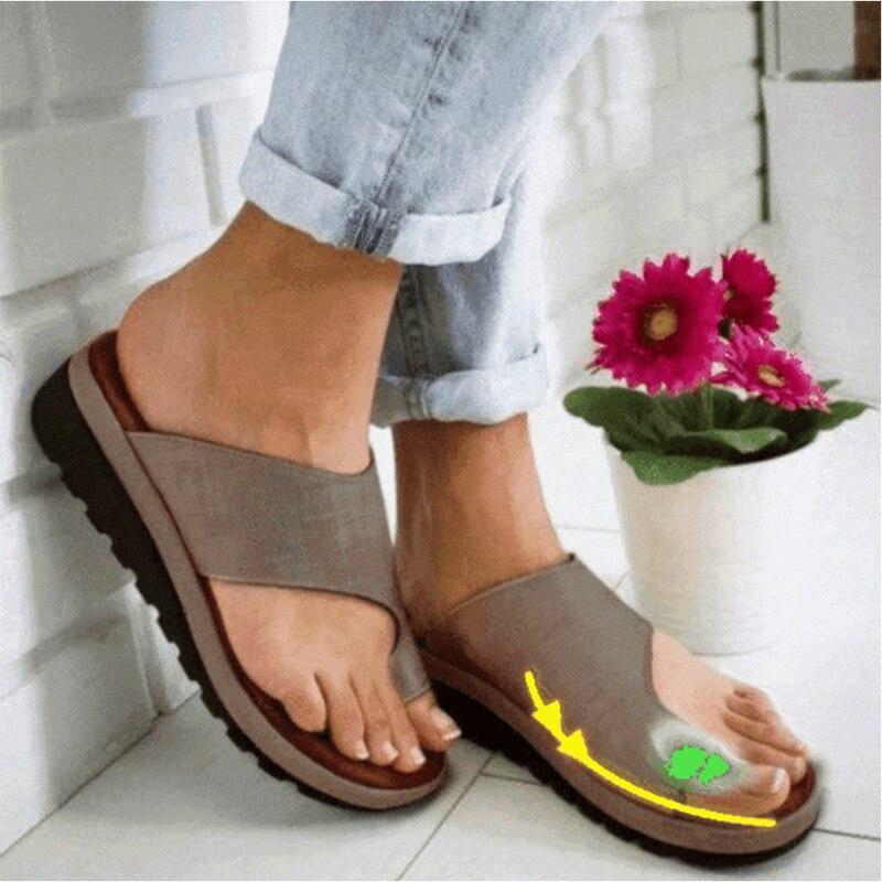 1 par de sandalias de plataforma cómodas para mujer, zapatos de pie, Sandalia de mujer de piel sintética gruesa para salir de compras con suela plana
