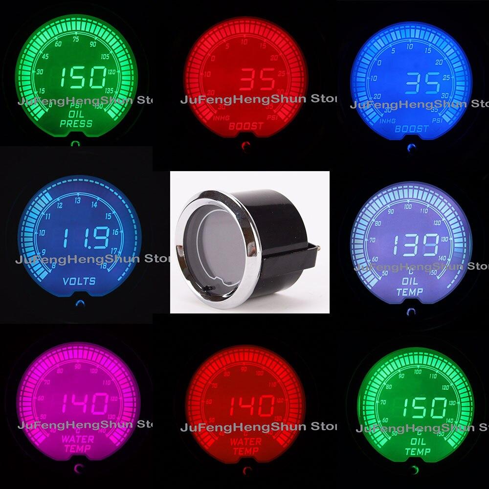 Calibre de coche de 52mm 12V temperatura del aceite temperatura del agua Turbo Boost Volt presión de combustible Auto calibres Luz de 7 colores medidor Digital + Sensor