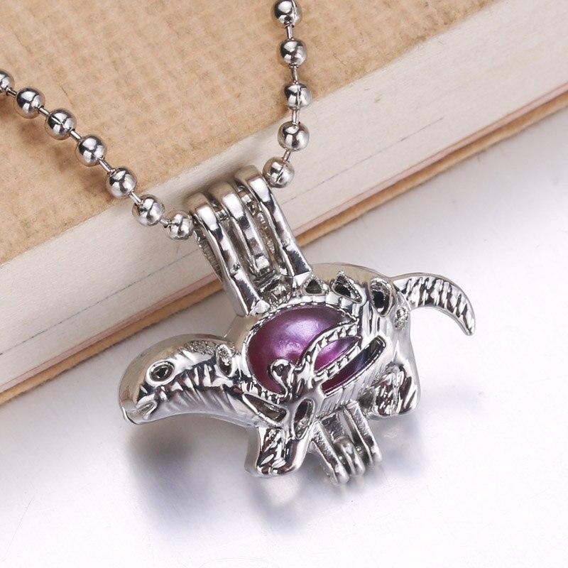 6 pçs chapeado dinossauro moda jóias fazendo pérola gaiola medalhão pingente difusor de óleo essencial diversão jóias presente