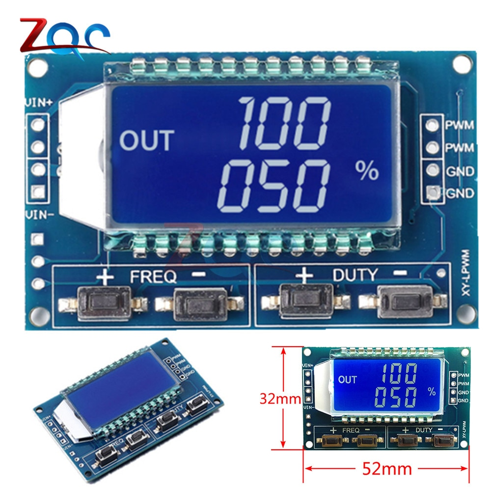 Generador de señal PWM frecuencia de pulso ciclo ajustable módulo pantalla LCD 1Hz-150Khz 3,3 V-30V PWM de módulo