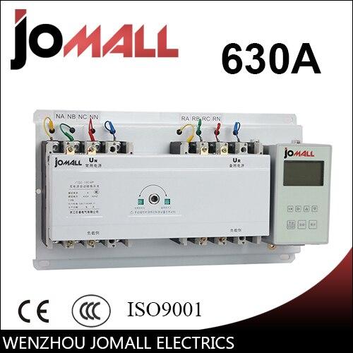 630A 3 polos 3 fases interruptor de transferencia automática ATS con controlador en inglés