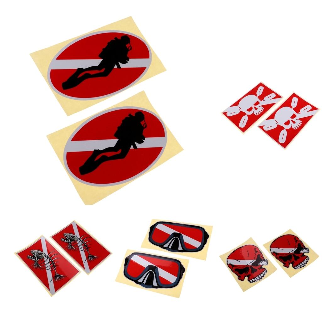 2 шт. Светоотражающая клейкая наклейка для ныряния с аквалангом, Каяка, наклейка для дайвинга, баллон, ласты для подводного плавания, плавания, водных видов спорта