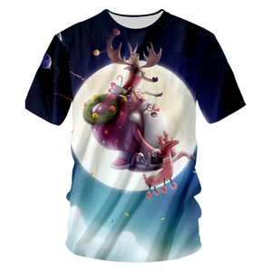 UJWI 2019 Men's Christmas Moon Pattern T Shirt 3D Printed Lovely Santa Claus And Elk Clothing Man Casual O Neck Tshirt