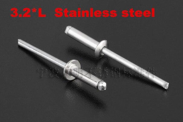 100 pçs/lote DIN7337 rebite cego de aço inoxidável cabeça redonda tipo aberto 3.2*5/6/7/9/11/13