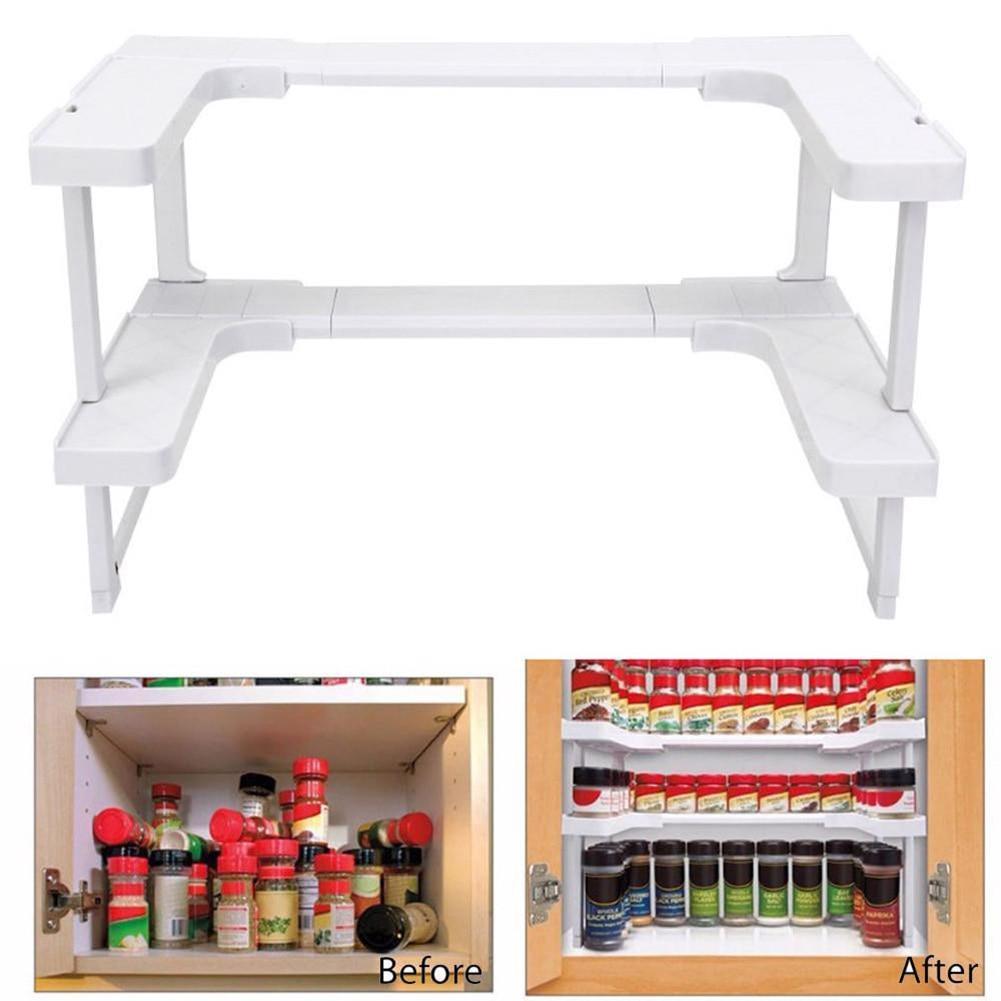 Rack Storage Kitchen Shelving Adjustable Bathroom Stackable Multi-functional Shelf TB Sale