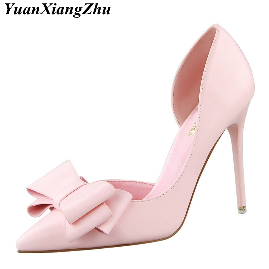 High Quality Women Pumps Sexy High Heels Wedding Shoes Pointed Toe Stiletto Bow Shoes Female 2018 Fa