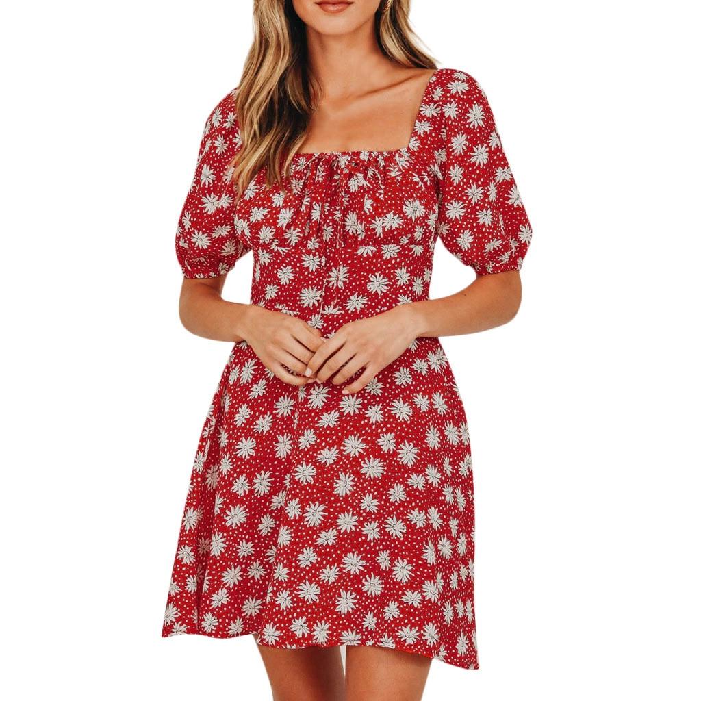 2019 verano otoño mujer Vestido de playa Casual rojo frenium impreso de manga corta verano Mini vestido de sol L701