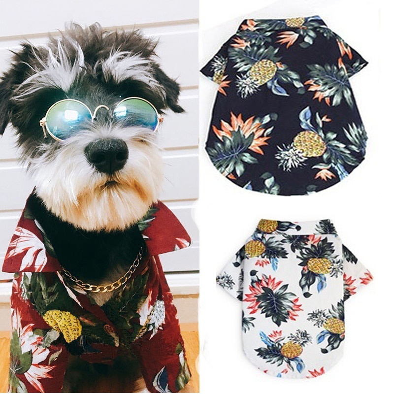 Camisas de algodón para perros y gatos, ropa de playa de verano, chaleco para mascotas, ropa Floral, camiseta Hawaiana para perros pequeños y grandes, Chihuahua, Frech Fulldog