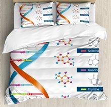 Juego de fundas de edredón educativo, Bases de ADN, bioquímica, bioquímica, ciencia, espiral, símbolo, decoración genética, juego de cama de 4 Uds