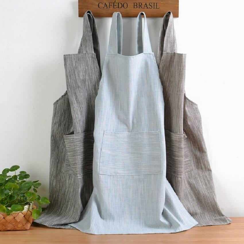 Japoneses nuevos Color sólido estilo de cáñamo de algodón delantal unisex tiendas de café trabajo limpiando Delantales para mujer de cocina para hornear daidle babero