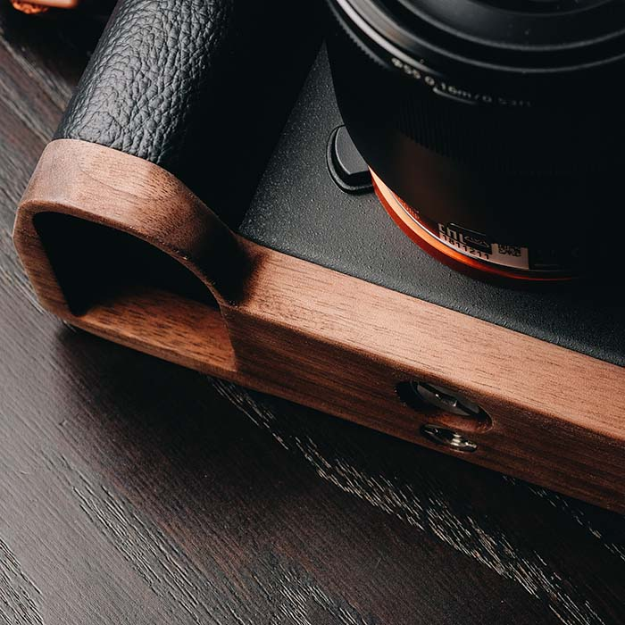Walnut Wooden Wood Hand Grip Plate Bracket Quick Release Perfect fit for A7II A72 A7RII A7R2 A7SII A7M2 enlarge