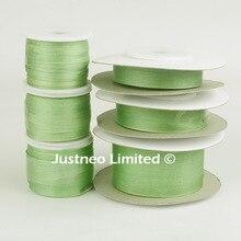 Cinta de seda pura de 100% verde y piedra 252 para manualidades bordadas, cinta de seda tafetán de doble cara 2/4/7/10/13/25mm, 10/30/100m pk