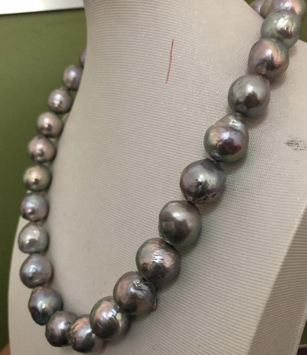 Collar de perlas grises del Mar del Sur barroco enorme de 13-15mm 18 pulgadas 925s KKK
