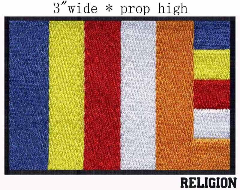 Parche bordado ancho de 3 pulgadas de la bandera del Budismo para aplique de tela flores/efecto masivo/aplique de tela