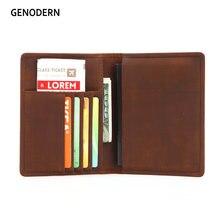 Housse de passeport en peau de vache génodern avec porte-carte étui pour permis de conduire housse de Document Vintage portefeuille de voyage porte-passeport