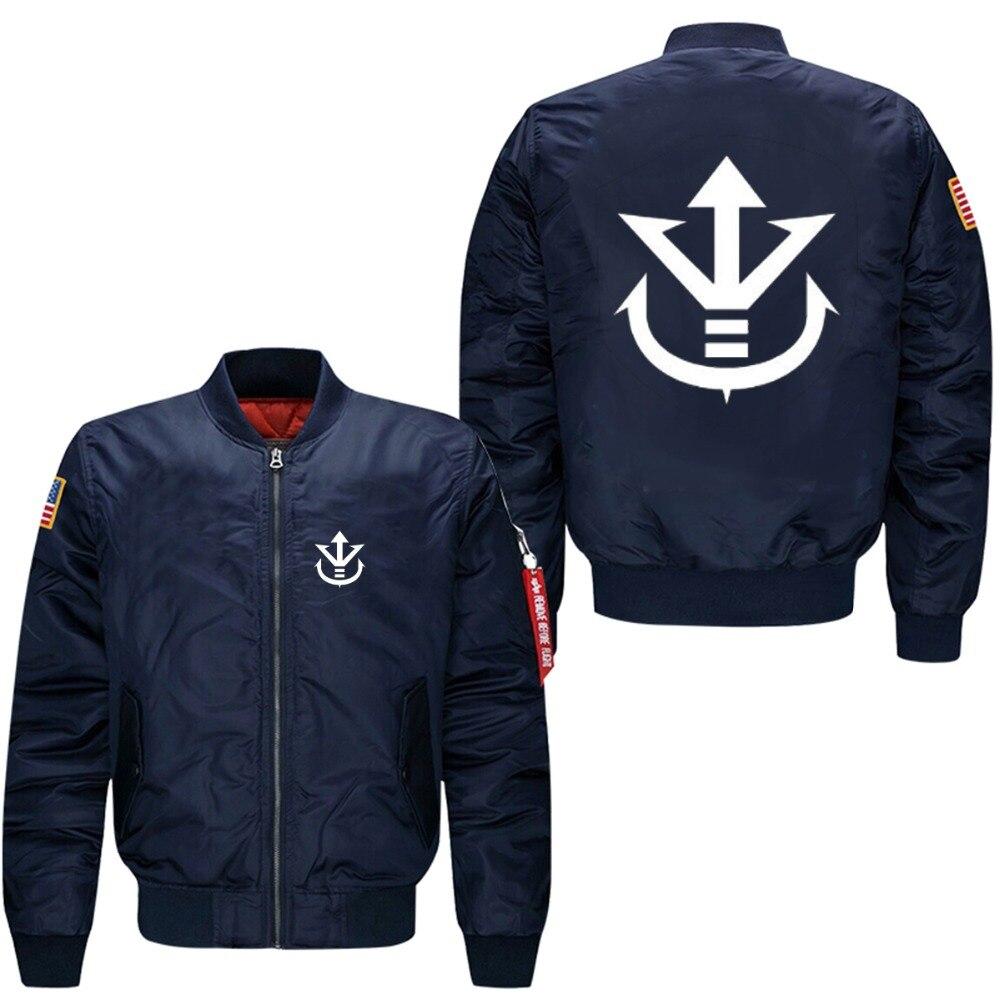 Dragon Ball Z Vegeta Saiyan Royal Crest de primavera 2018, chaqueta de vuelo para hombre, abrigo masculino, chaqueta cortavientos, tallas de EE. UU.