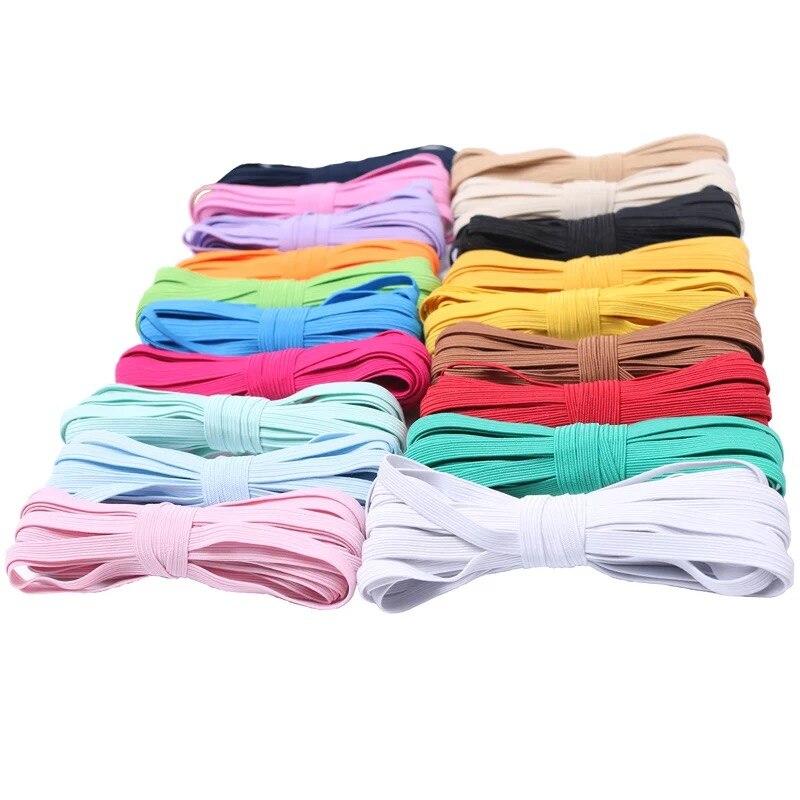 Bandas Elásticas redondas de alta elasticidad coloridas de 3mm, cuerda de goma, cinta de Spandex, cinta de costura de encaje, banda de cintura para máscara, cordón de oreja