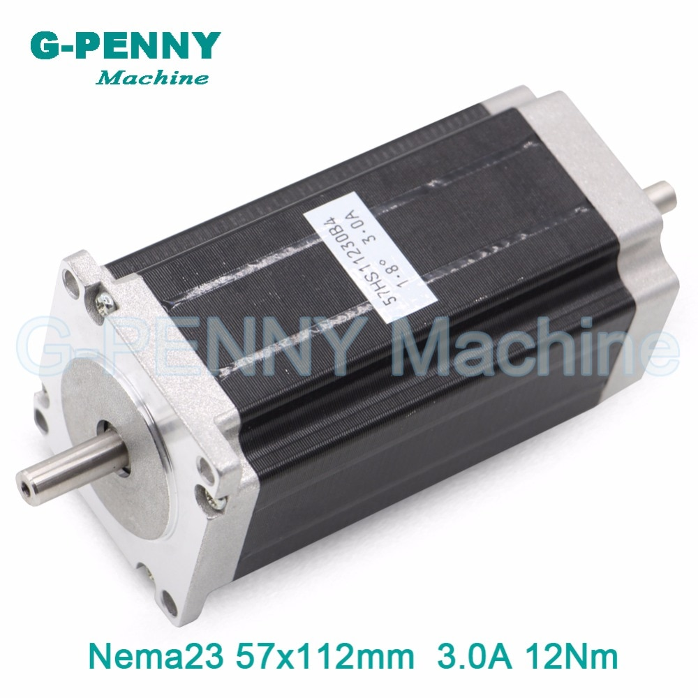de ship free vat 4 pcs nema23 425oz in 2 8n m 112mm length single shaft stepper motor stepping motor 3a for cnc router engraving CNC Stepper Motor Double Shaft NEMA 23 57x112mm stepping motor cnc 3N.m 3A 428Oz-in for 3D printer CNC Router engraving  machine
