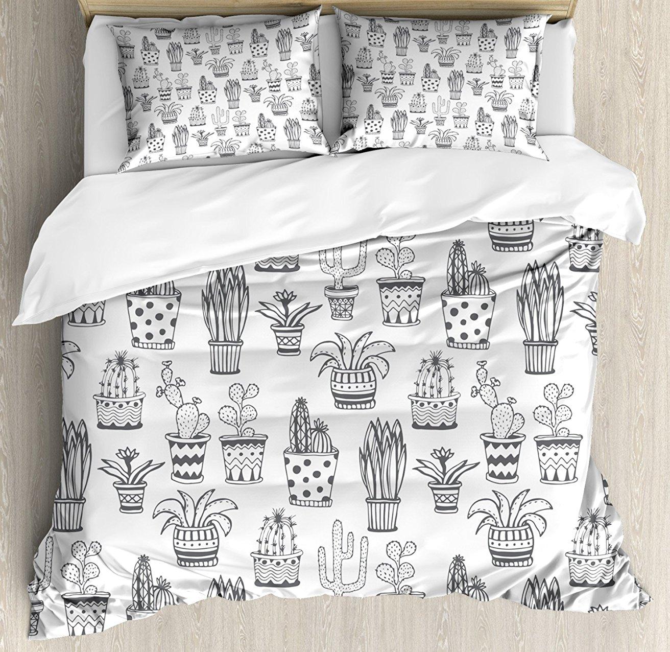 Juego de fundas de edredón, flores con garabatos en macetas con lunares y zigzag plantas tropicales monocromo, juego de ropa de cama de 4 piezas