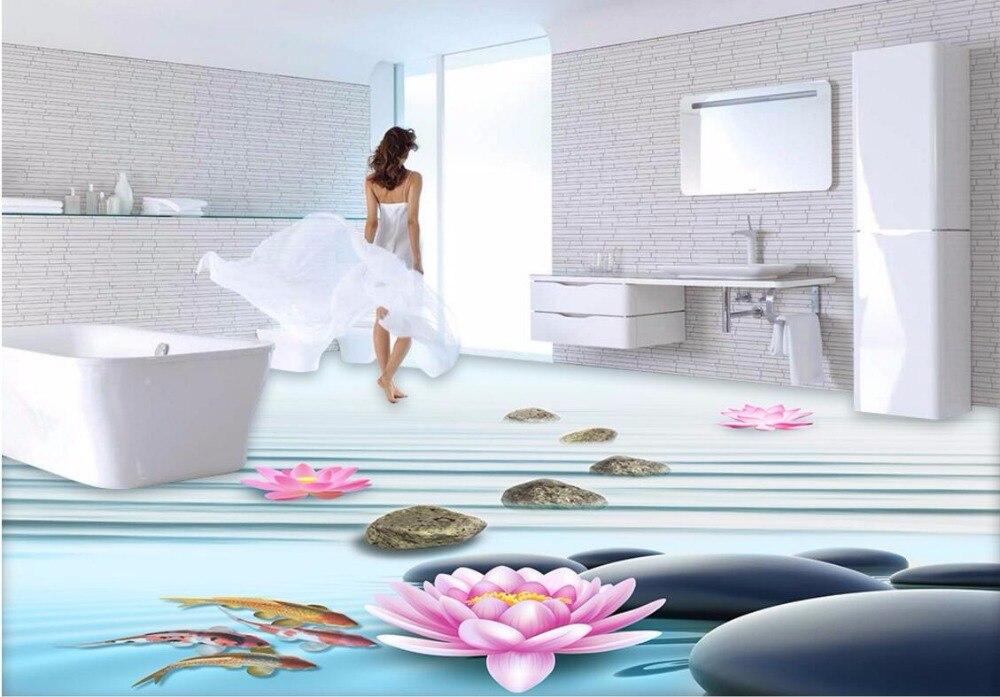 Wdbh seixos piso pvc auto adesivo papel de parede personalizado mural 3d lotus imagem home decor pintura murais de parede 3d papel de parede