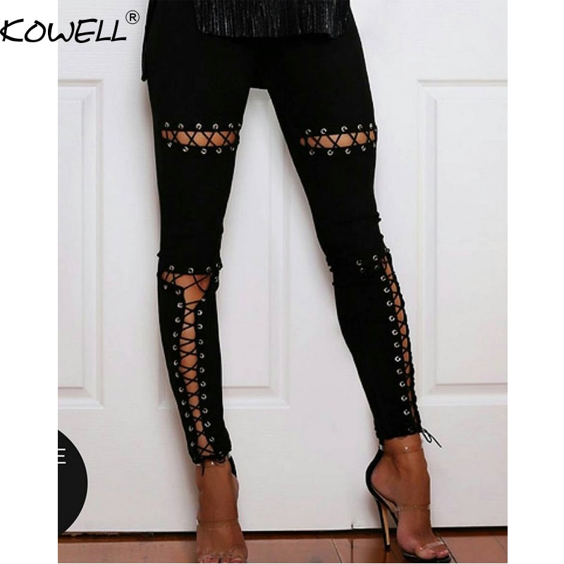 Gran oferta de encaje de gamuza pantalones polainas de las mujeres 2018 Primavera Verano pantalones ajustados de cintura alta Mujer Eleastic pantalón lápiz