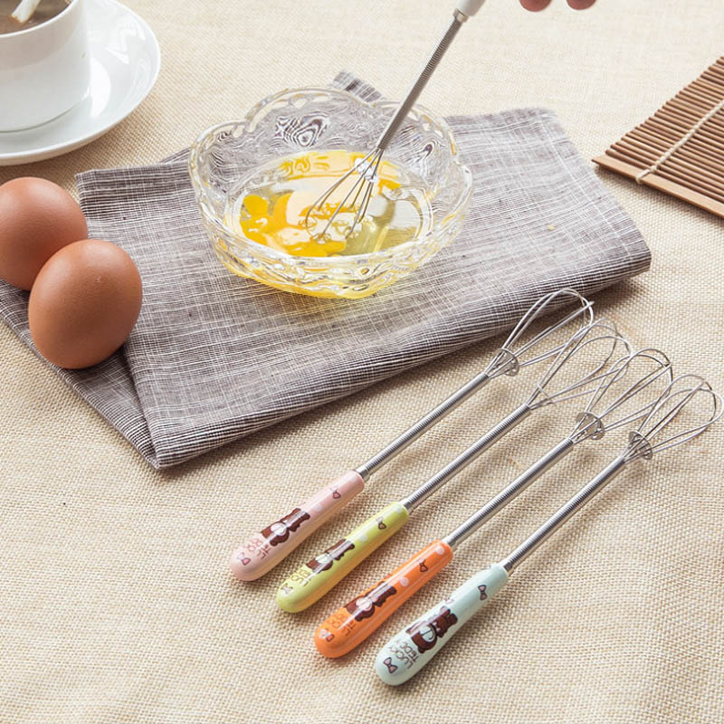 Cute Egg Beaters de acero inoxidable con mango de cerámica dibujo crema mantequilla Foamer batidos huevos cocina accesorios de utensilios para cocina
