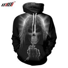 UJWI большой балахон 6XL Харадзюку Мужская 3d печать Death Skull Толстовка Мужская хип-хоп с длинным рукавом с капюшоном пуловеры джемперы