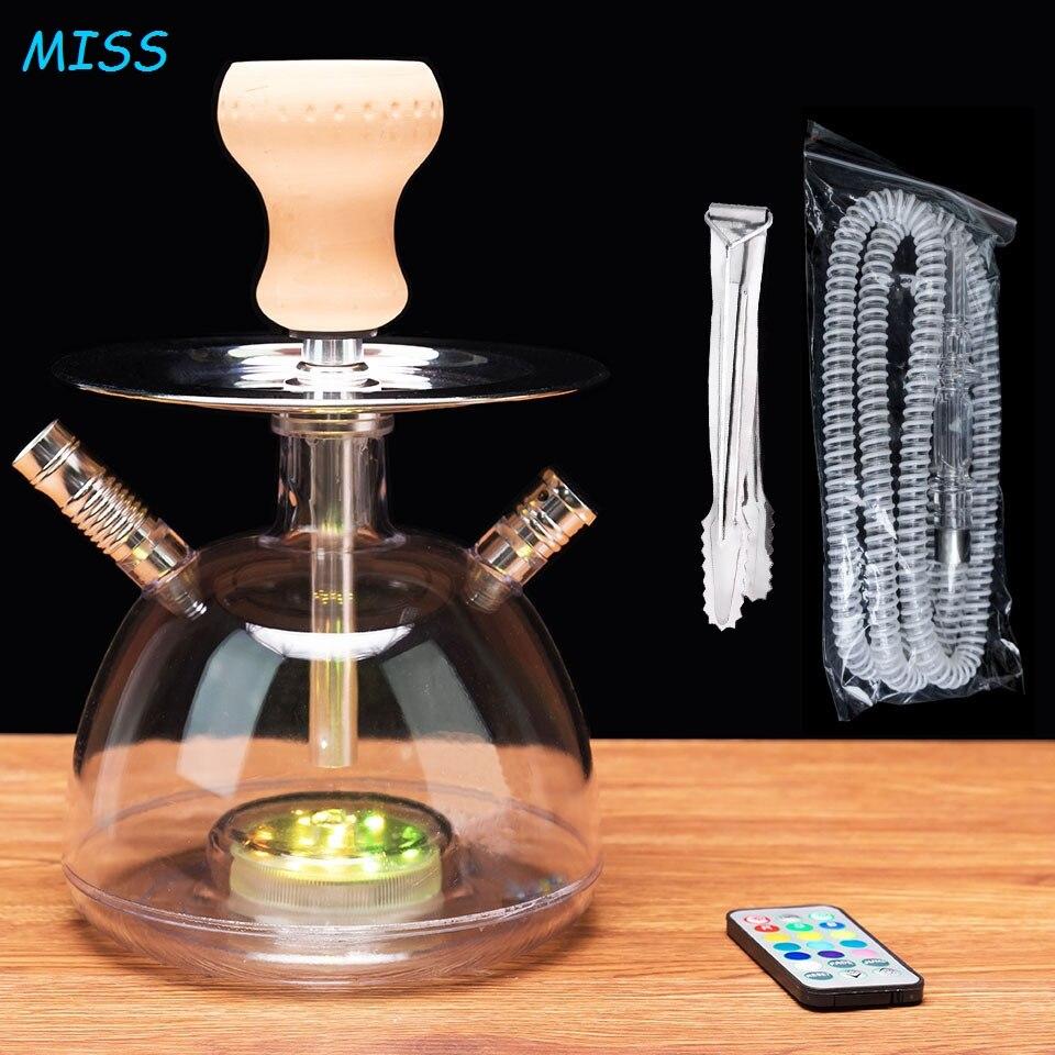 Acryl Shisha Set LED Licht Shisha Mit Shesha Keramik Schüssel Kunststoff Schlauch Metall Holzkohle Zange Wasser Rohre Narguile Zubehör