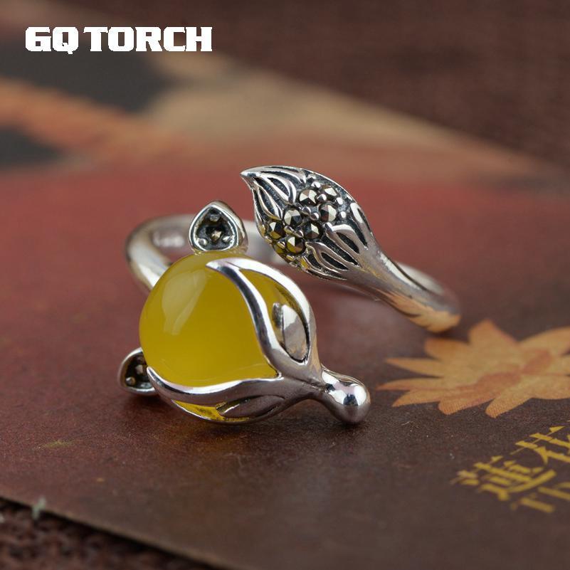 925 Пробы Кольца с натуральным драгоценным камнем, инкрустированные белым, зеленым, желтым халцедоном