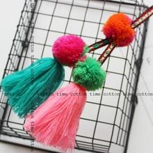 1pcs ethnic style tassel with pompom decorative tassel 30cm length boho chic  tassel for bag accessory  free shipping
