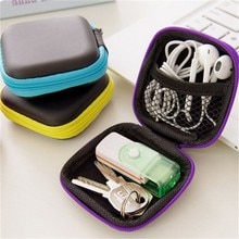 Portable Mini sac électronique fermeture éclair casque boîte in-ear écouteurs cas EVA carré écouteurs casque transporter sac numérique