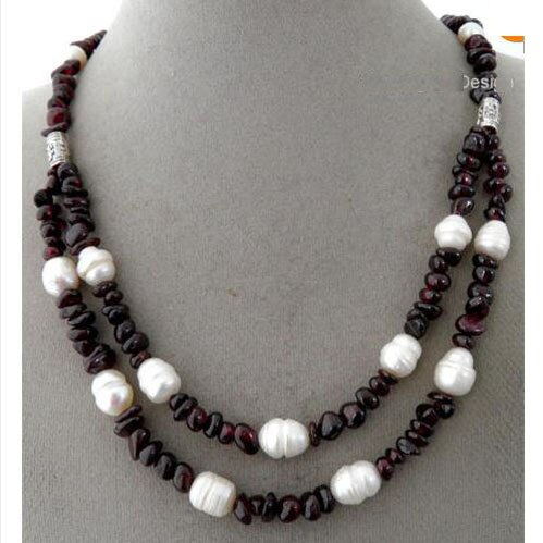 Recién llegado, 2 hebras hechas a mano, abalorios de gemas de vino tinto profundo, collar de joyas de perlas gruesas