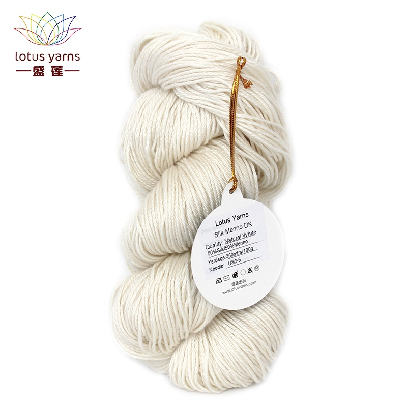 Lã de seda merino fio misturado sem tingido mão tricô diy crochê dk peso natural branco