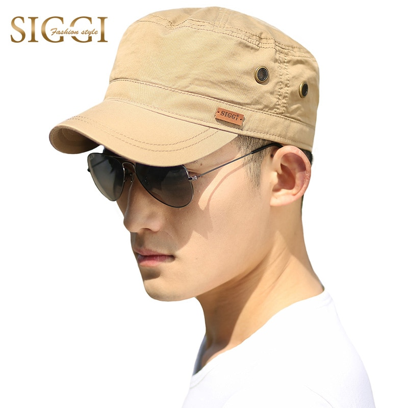 FANCE Men Military Hats Flat Cap Cotton Soft Adjustable Snapback Roof Plain Chapeau Gorras Fashion Sport Outdoors Army Cap 68033