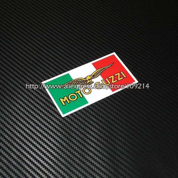 Gran oferta de calcomanías impermeables para Moto, casco, Bandera de Italia, Moto guzi 13