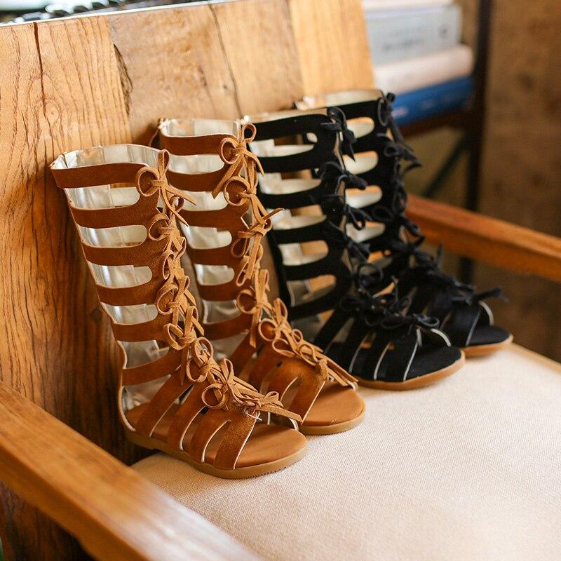 Лидер продаж; Летние модные римские сапоги; Сандалии для девочек с высоким берцем; Детские сандалии-гладиаторы; Сандалии для маленьких детей; Обувь высокого качества для девочек