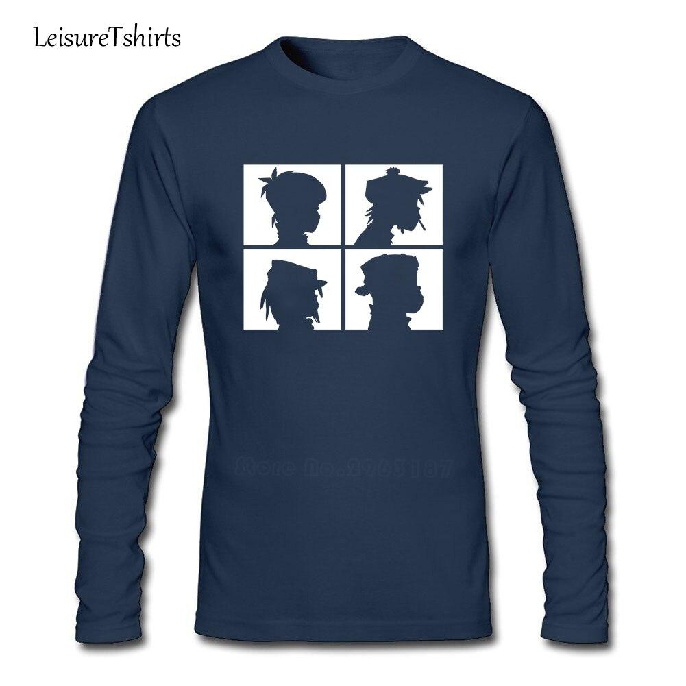 Gorillaz 악마 일 실루엣 남성 T 셔츠 패션 운동 루즈 탑 남성 긴 소매 100% 코튼 티 Teenboys 최신 옷