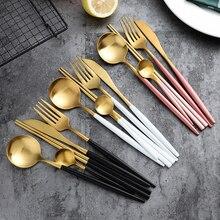 Aço inoxidável preto conjunto de talheres de ouro louça talheres talheres conjuntos pauzinhos jantar faca garfo transporte da gota